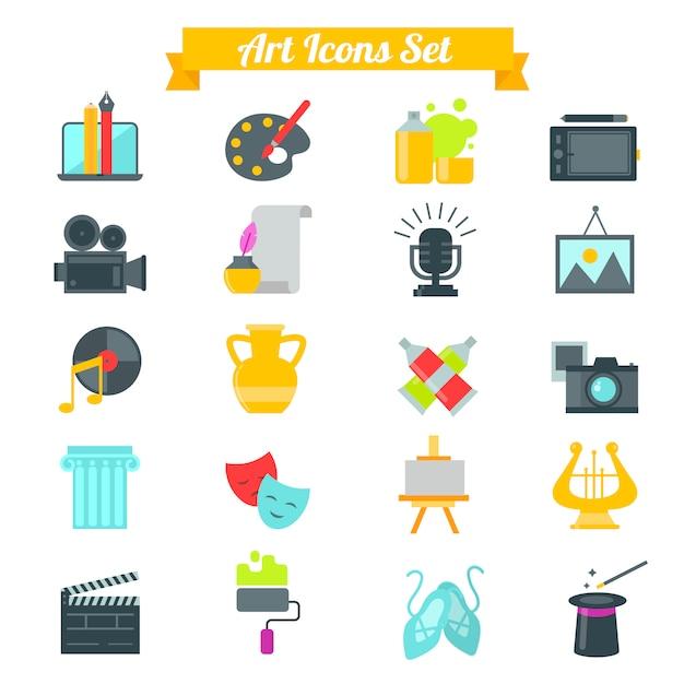 Conjunto de ícones de arte em design plano com longas sombras Vetor Premium