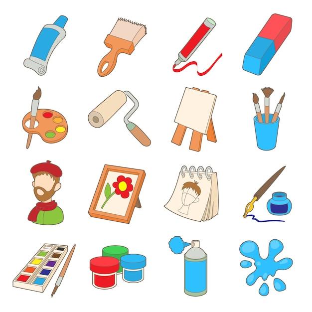 Conjunto de ícones de arte em estilo cartoon, isolado no fundo branco Vetor Premium
