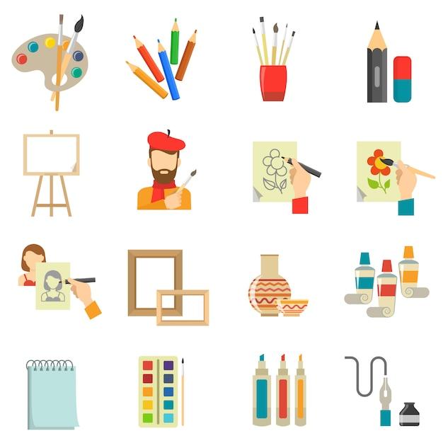Conjunto de ícones de arte Vetor grátis