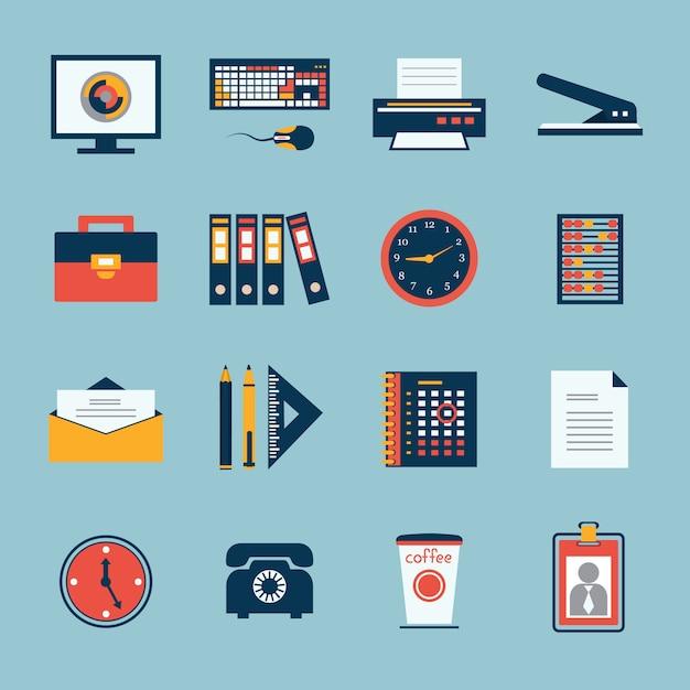 Conjunto de ícones de artigos de papelaria do escritório de negócios Vetor Premium