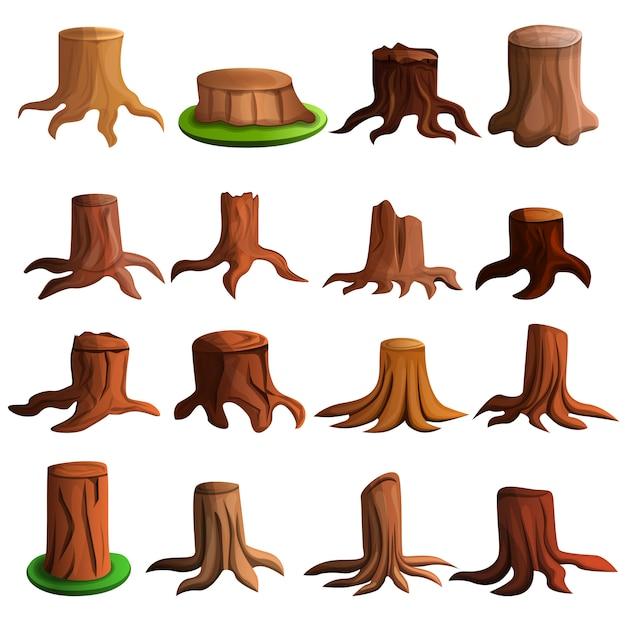 Conjunto de ícones de árvore de coto, estilo cartoon Vetor Premium