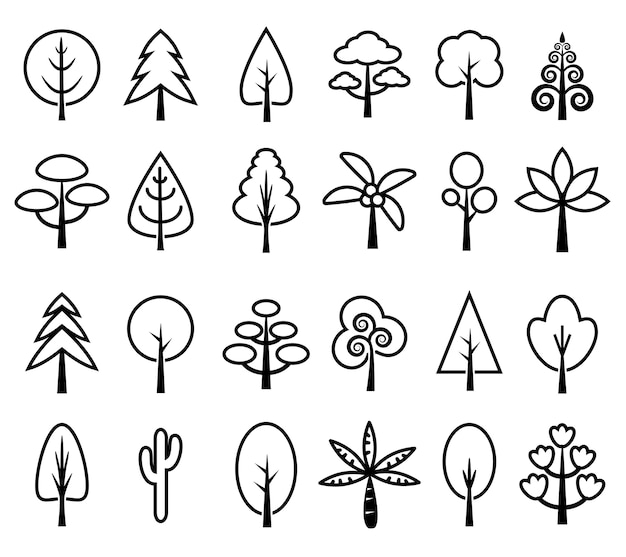 Conjunto de ícones de árvore vector preto e branco Vetor Premium