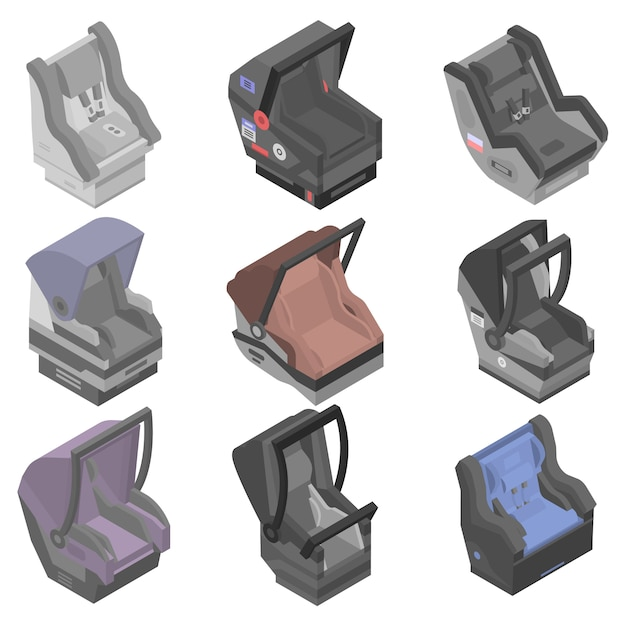 Conjunto de ícones de assento de carro de bebê, estilo isométrico Vetor Premium