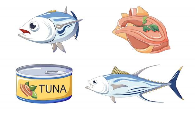 Conjunto de ícones de atum, estilo cartoon Vetor Premium