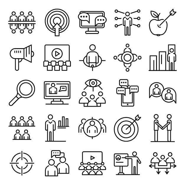 Conjunto de ícones de audiência, estilo de estrutura de tópicos Vetor Premium