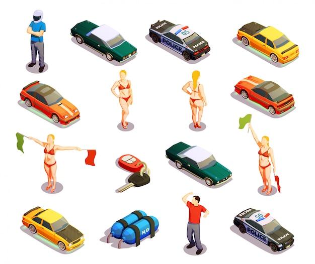 Conjunto de ícones de automobilismo Vetor Premium