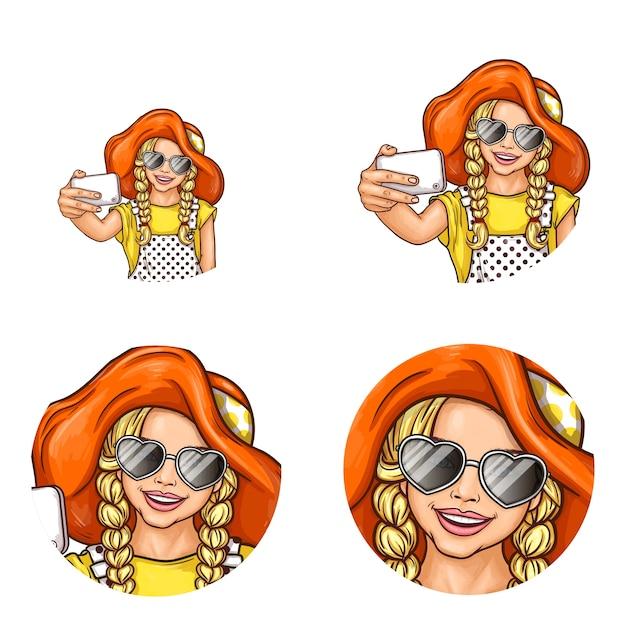 Conjunto de ícones de avatar redondos de pop art para usuários de redes sociais, blogs, ícones de perfil. Vetor grátis