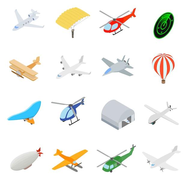 Conjunto de ícones de aviação Vetor Premium