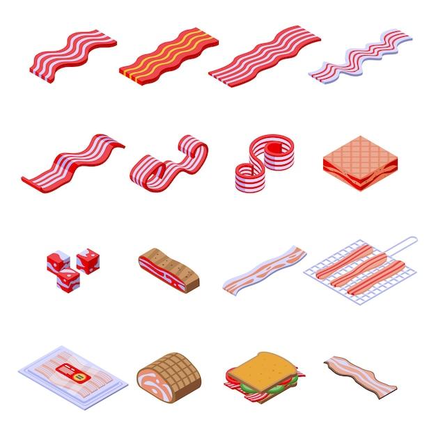 Conjunto de ícones de bacon. conjunto isométrico de ícones de bacon para web isolado no fundo branco Vetor Premium
