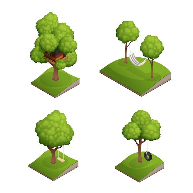 Conjunto de ícones de balanço de árvore Vetor grátis