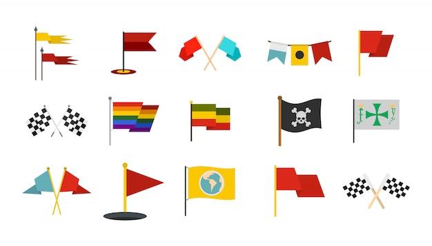 Conjunto de ícones de bandeira. plano conjunto de coleção de ícones de vetor bandeira isolada Vetor Premium