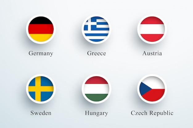 Conjunto de ícones de bandeira redonda alemanha grécia áustria Vetor Premium