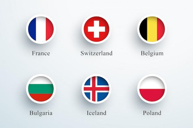 Conjunto de ícones de bandeira redonda frança suíça bélgica Vetor Premium