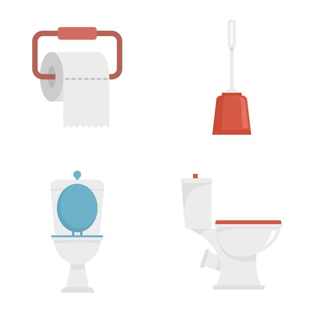 Conjunto de ícones de banheiro Vetor Premium