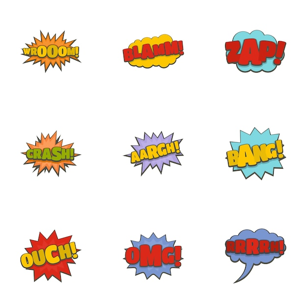 Conjunto de ícones de banner de cinema. conjunto de desenhos animados de 9 ícones de vetor de banner de cinema Vetor Premium