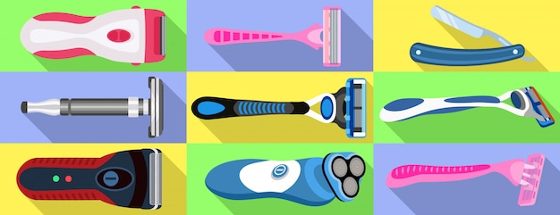 Conjunto de ícones de barbear. conjunto plano de vetor de barbear Vetor Premium