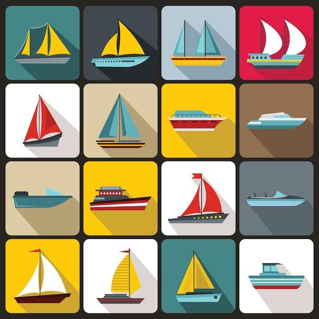 Conjunto de ícones de barco e navio Vetor Premium