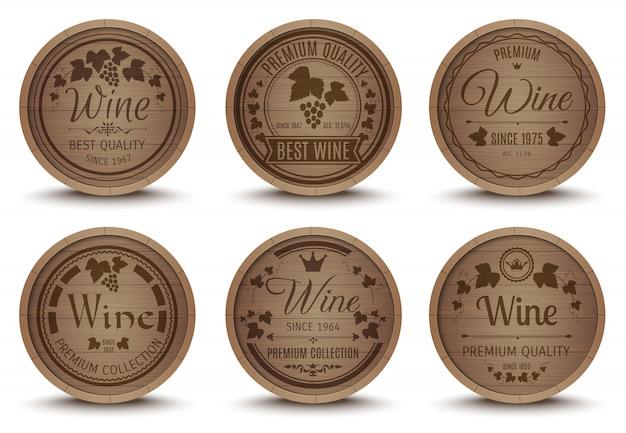 Conjunto de ícones de barris de vinho Vetor grátis