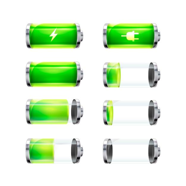 Conjunto de ícones de bateria brilhante com diferentes níveis de carga e sinais de potência isolados Vetor Premium