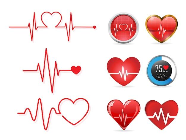 Conjunto de ícones de batimento cardíaco Vetor Premium