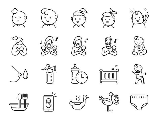 Conjunto de ícones de bebê Vetor Premium