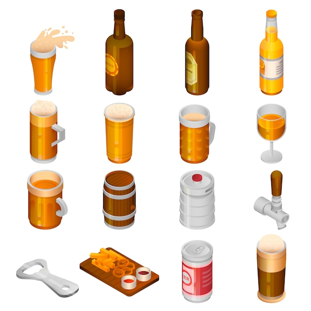 Conjunto de ícones de bebida de cerveja. isométrico conjunto de ícones de vetor de bebida de cerveja para web design isolado no fundo branco Vetor Premium