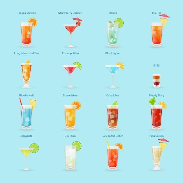 Conjunto de ícones de bebidas e coquetéis de álcool, coquetéis populares, ilustração isolada Vetor Premium