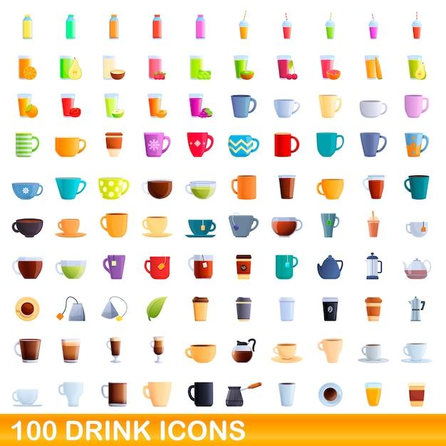 Conjunto de ícones de bebidas. ilustração dos desenhos animados de ícones de bebidas em fundo branco Vetor Premium
