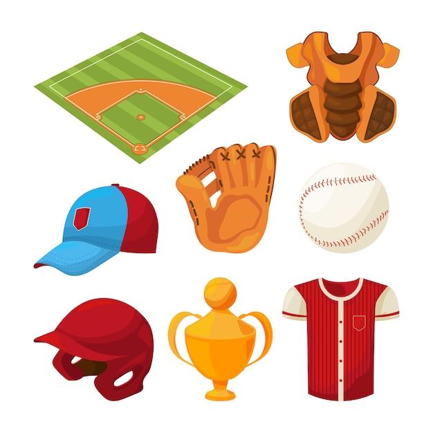 Conjunto de ícones de beisebol dos desenhos animados isolado no branco Vetor Premium
