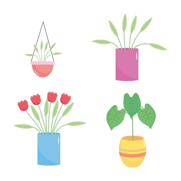 Conjunto de ícones de belas plantas em um vaso sobre fundo branco Vetor Premium