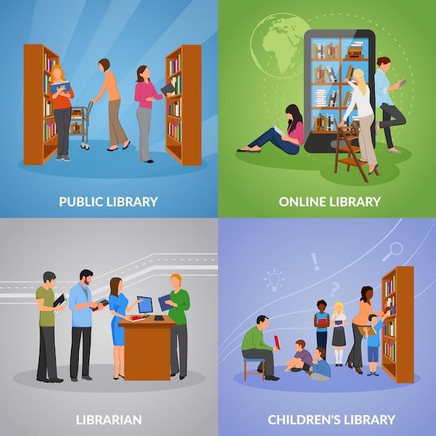 Conjunto de ícones de biblioteca Vetor grátis