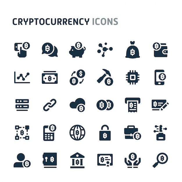 Conjunto de ícones de blockchain e criptomoeda. série de ícone preto fillio. Vetor Premium