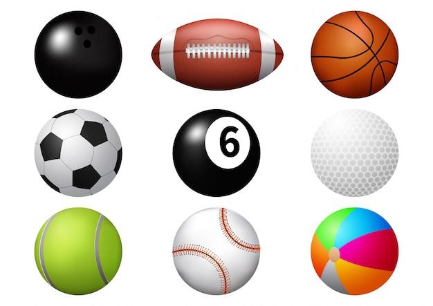 Conjunto de ícones de bola esporte. Vetor Premium