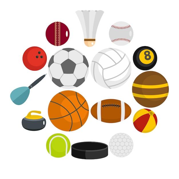 Conjunto de ícones de bolas de esporte em estilo simples Vetor Premium