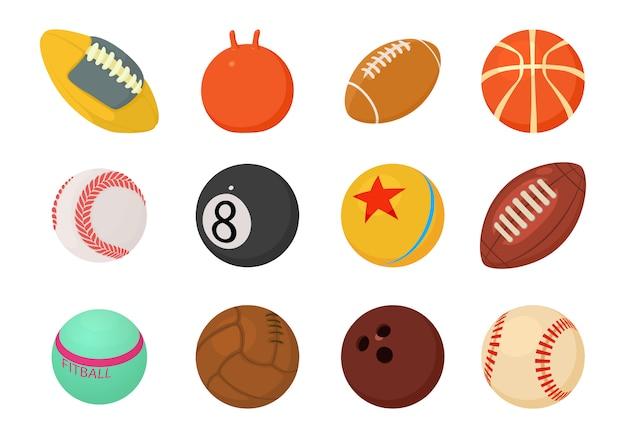 Conjunto de ícones de bolas Vetor Premium