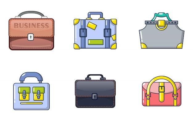 Conjunto de ícones de bolsa. conjunto de desenhos animados de ícones de vetor de bolsa conjunto isolado Vetor Premium