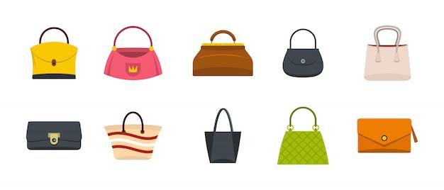 Conjunto de ícones de bolsa de mulher. plano conjunto de coleção de ícones de vetor de saco de mulher isolado Vetor Premium