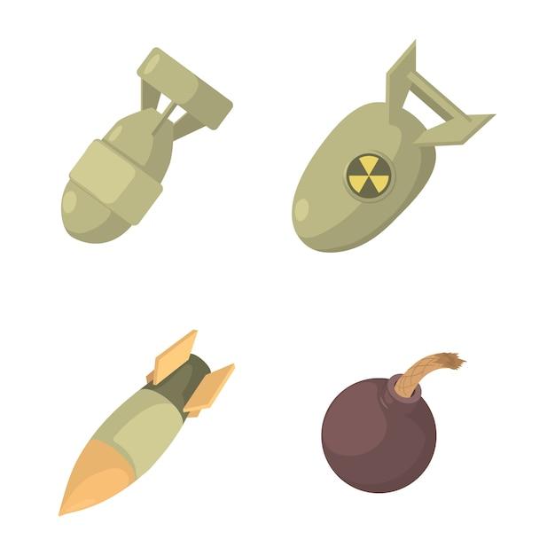 Conjunto de ícones de bomba Vetor Premium