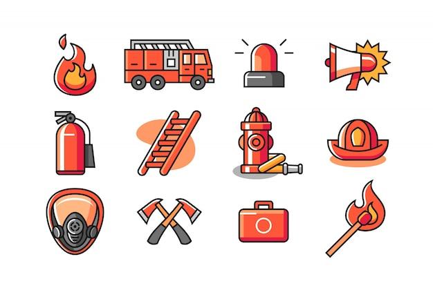 Conjunto de ícones de bombeiro Vetor Premium