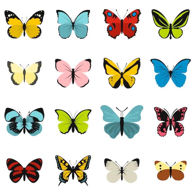 Conjunto de ícones de borboleta Vetor Premium