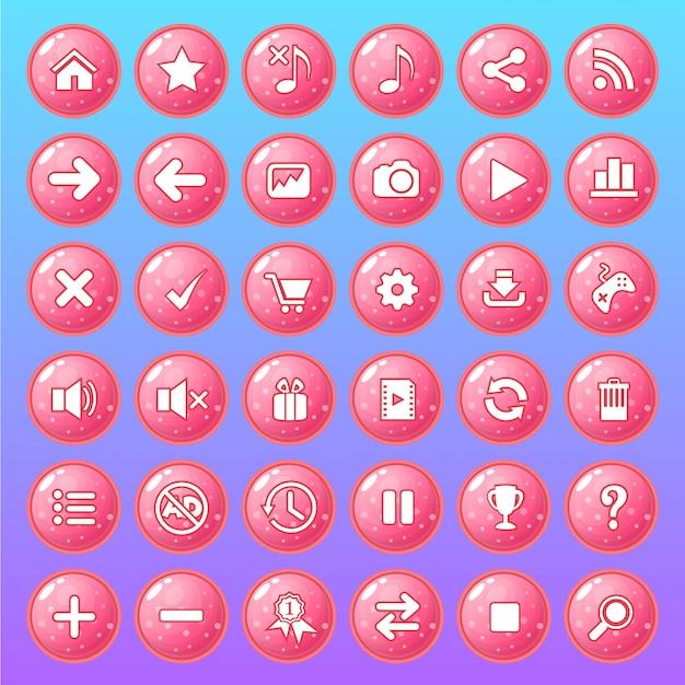 Conjunto de ícones de botão cor rosa estilo geléia brilhante. Vetor Premium