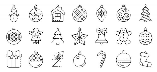 Conjunto de ícones de brinquedos de árvore de natal, estilo de estrutura de tópicos Vetor Premium