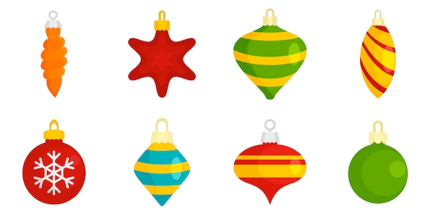 Conjunto de ícones de brinquedos de árvore de natal Vetor Premium