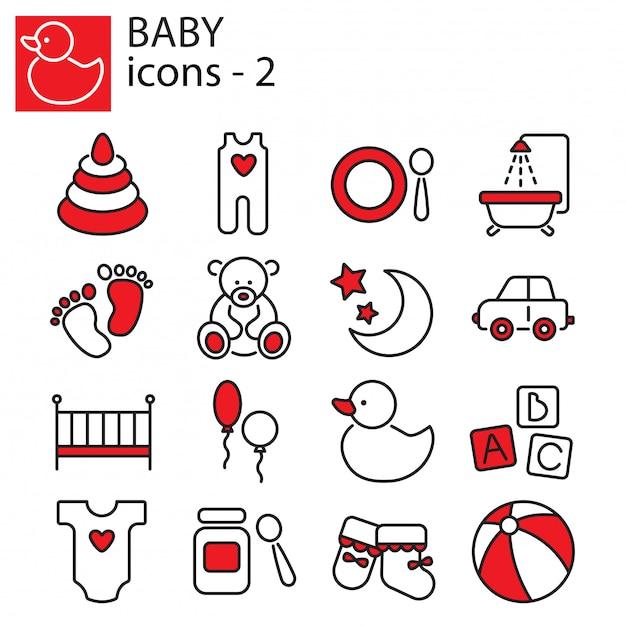 Conjunto de ícones de brinquedos de bebê, alimentação e cuidados Vetor Premium