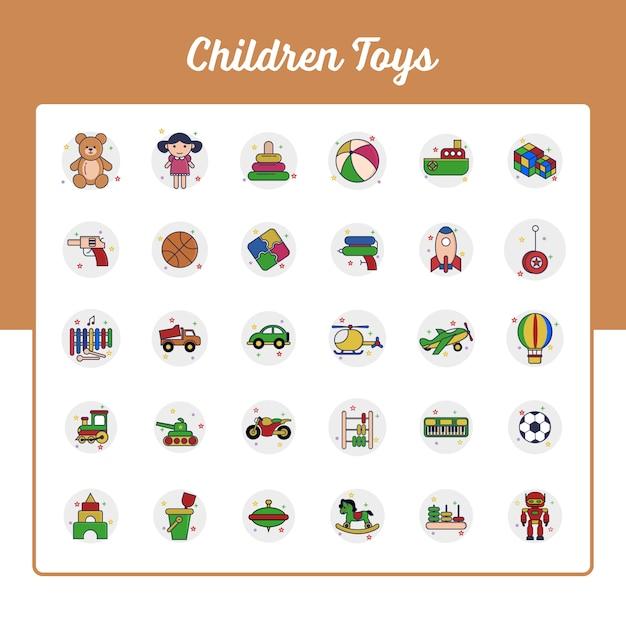 Conjunto de ícones de brinquedos de crianças com estilo preenchido de contorno Vetor Premium