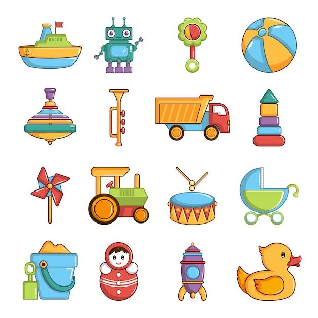 Conjunto de ícones de brinquedos de crianças Vetor Premium
