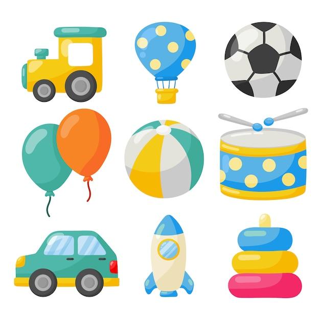 Conjunto de ícones de brinquedos de transporte dos desenhos animados. carros, helicóptero, foguete, balão e avião isolado no branco Vetor Premium
