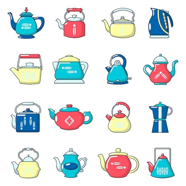 Conjunto de ícones de bule Vetor Premium