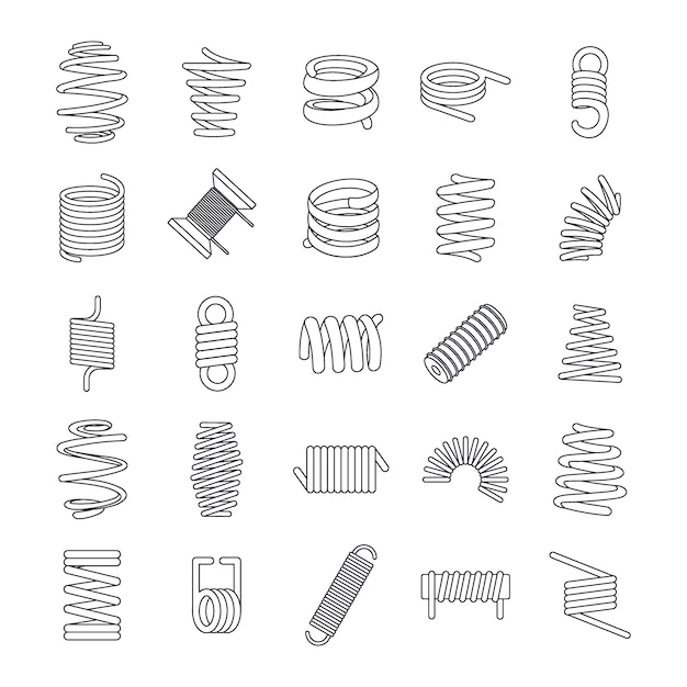 Conjunto de ícones de cabo de mola de bobina Vetor Premium