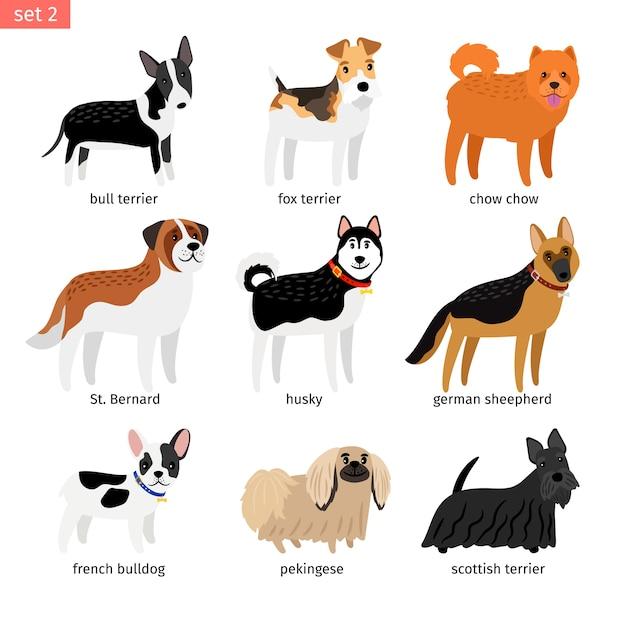 Conjunto de ícones de cães dos desenhos animados Vetor Premium